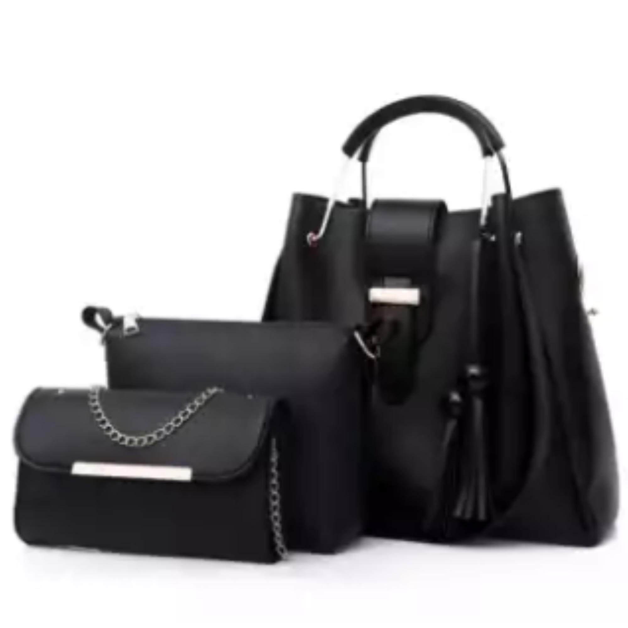 3Pcs PU Leather Ladies Hand Bags Set Handbags for Women Fashionable New Style Tote Bags Shoulder Bag Top Handle Satchel Purse Set 3pcs