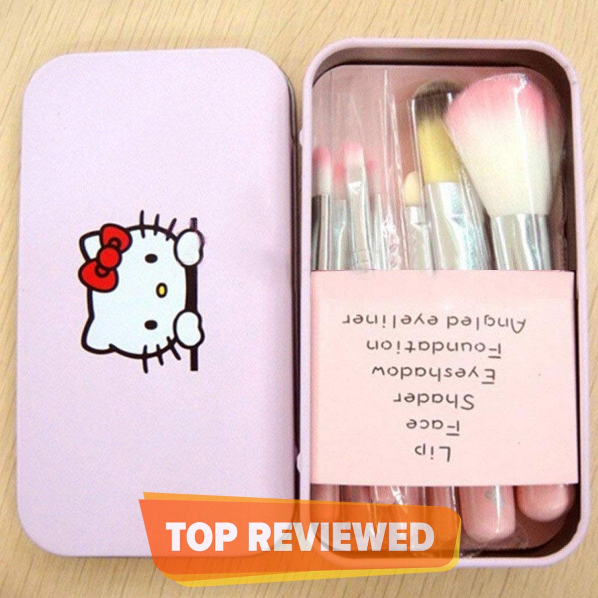 Cute Hello Kitty 7 Makeup Foundation Powder Eye shadow Brushes Set