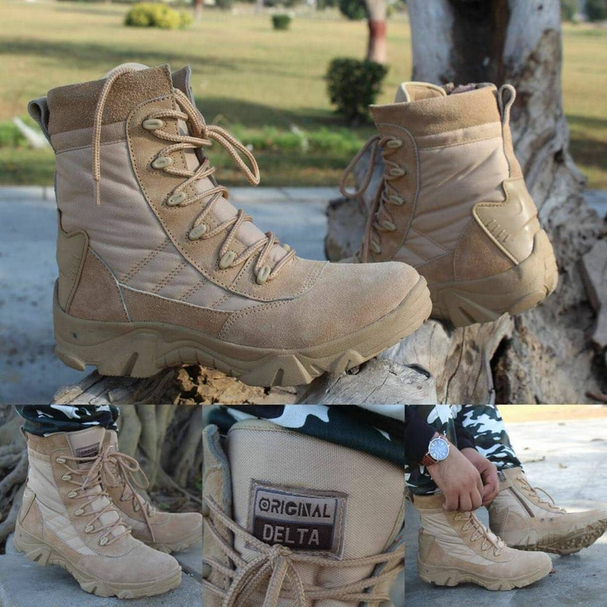 Khaki Leather Delta Boots For Men