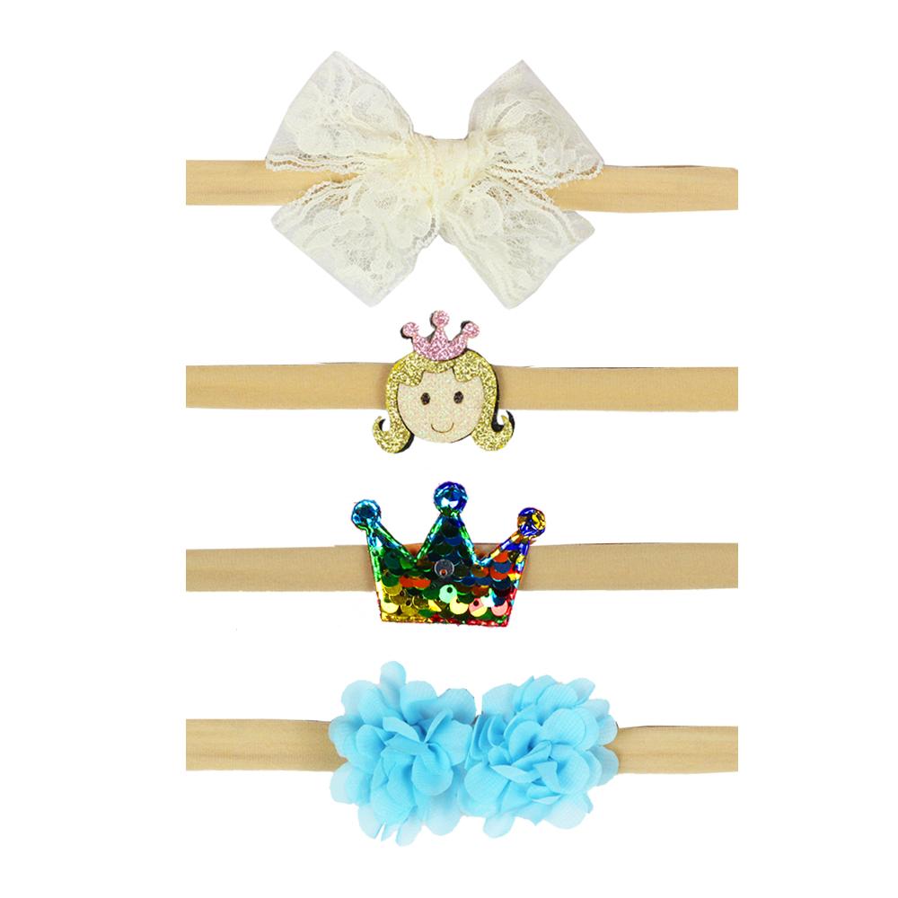 4Pcs/set Kids Girl Baby Toddler Bow Headband set Hair Band Headwear Flower headband set