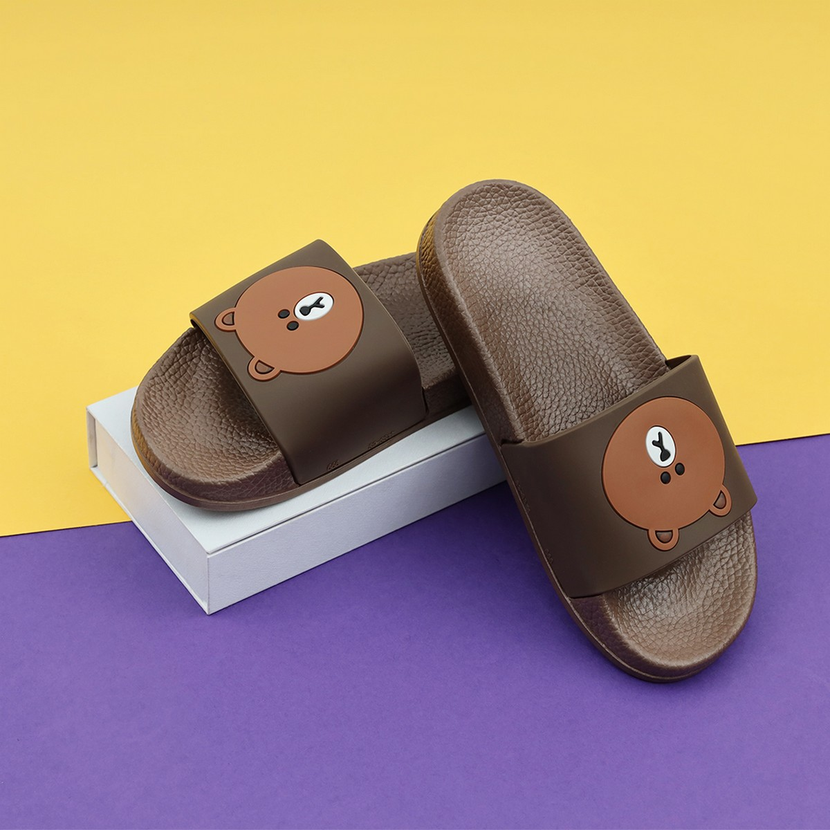 Teddy Bear Kids Slippers- High Quality House Slippers for Boys and Girls- Dark Brown
