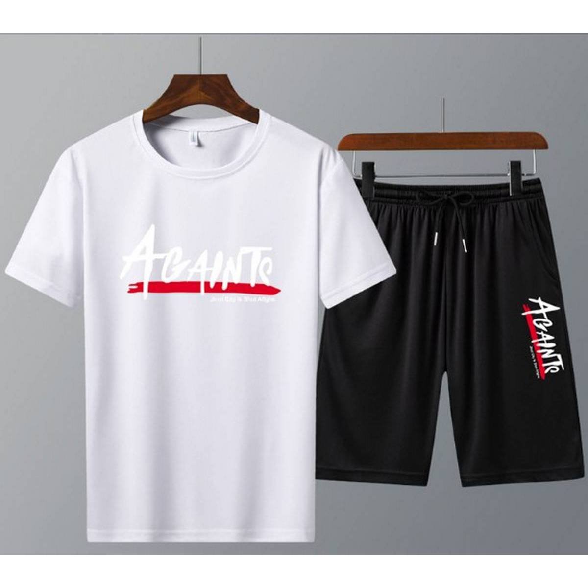 Men's Clothing Summer Breathable T-Shirt  and Black Shorts  Gym wear and comfortable