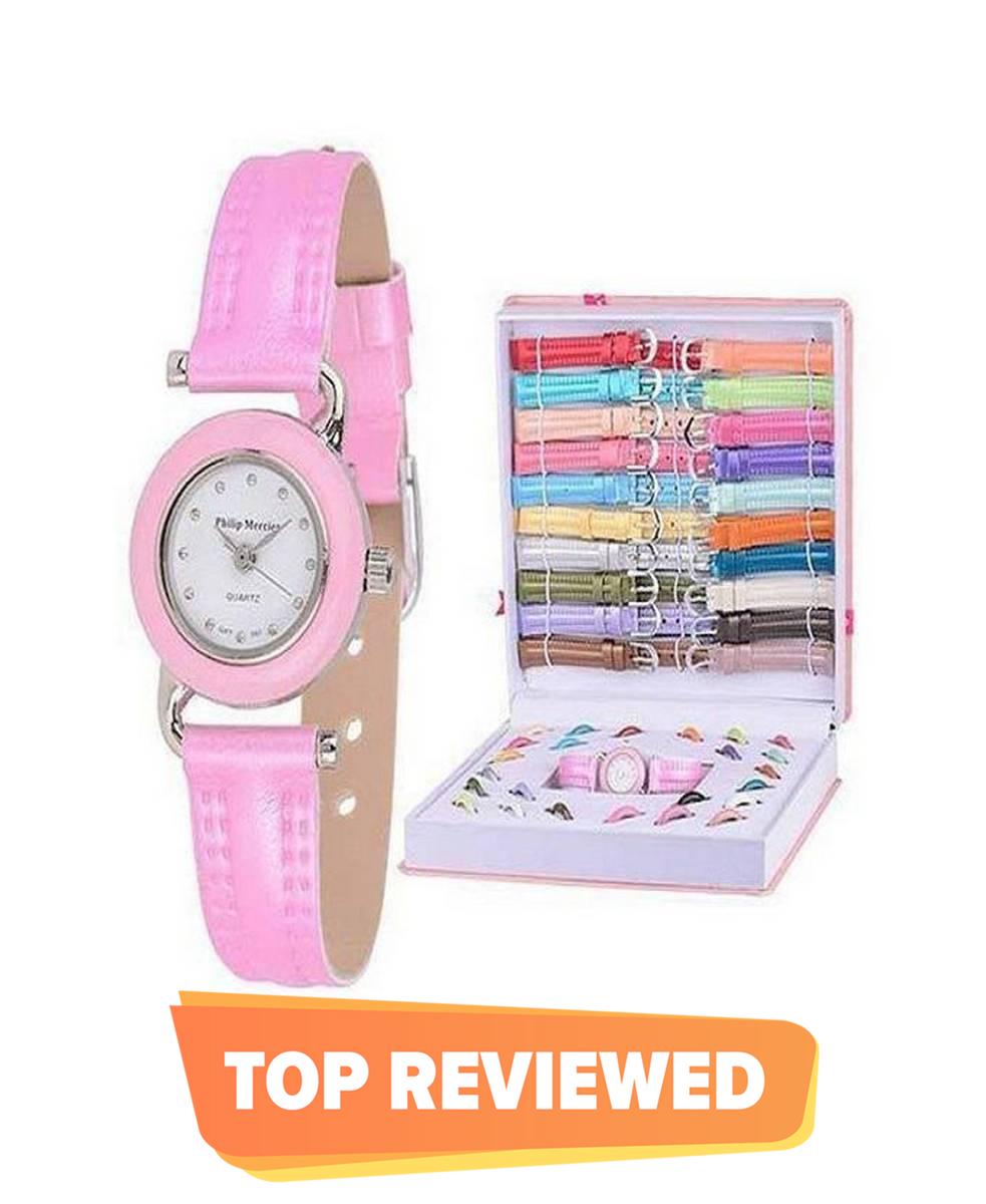 LGB-01 - 21 Strap Watch Set - Pink - Watch for Girls
