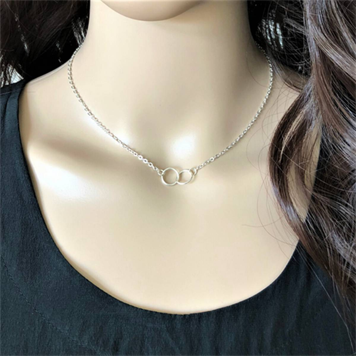 Silver/Golden Simple Double Ring Pendant Necklace/Chocker for Girls/Women