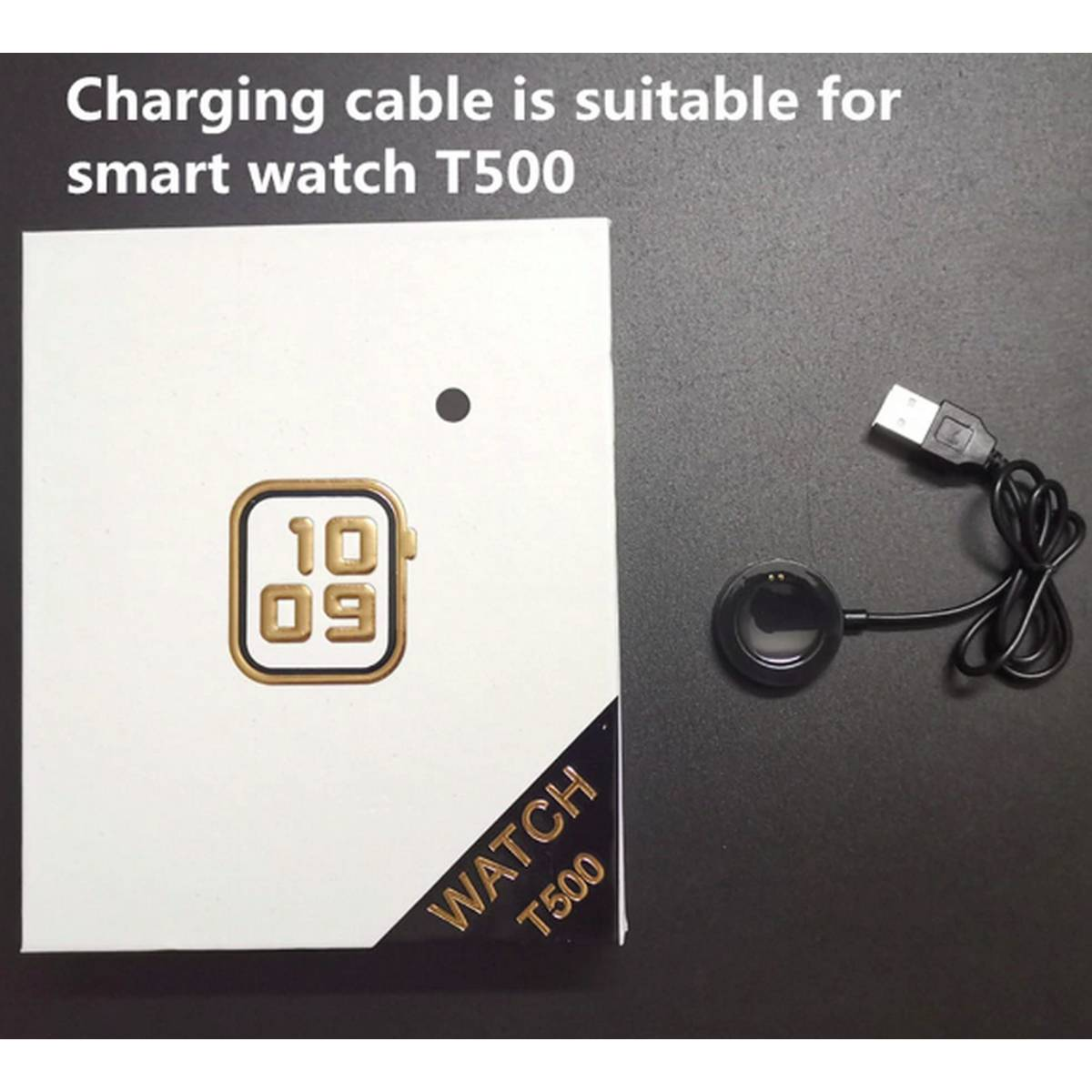 Smart Watch T500 Watch Charger Magnetic Suction Base Replacement Charging Cable USB Interface Power Charger Adapter For T500 Plus / T500 / T55 / T5s /  F18 / X7 / X6 Round Smartwatch