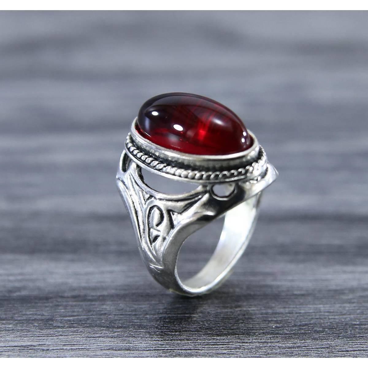 New Trendy Irani Silver RED Enamel Signet Ring Stainless Steel Ring For Men & Boys
