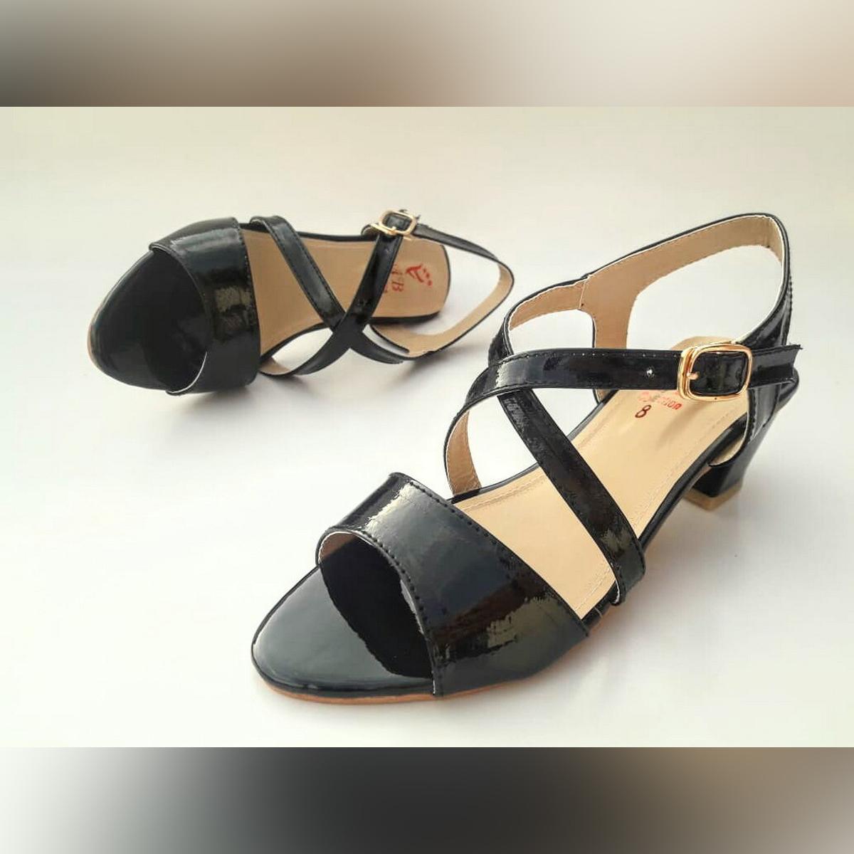 Stylish Classic Block Heel Patent Sandal For Ladies SPS-09