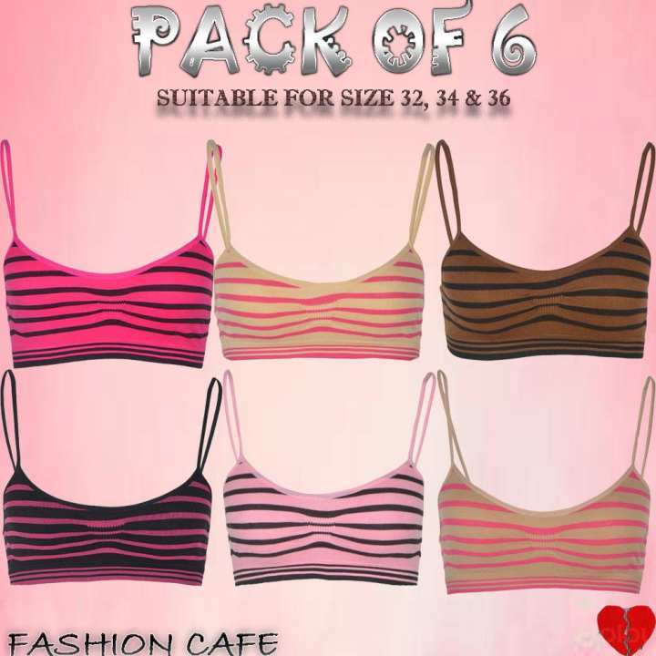Pack of 6 - Women Cotton Stretchable Bra in Stripe Fabric (Suitable for Cup A+B) - Size from 32 To 36