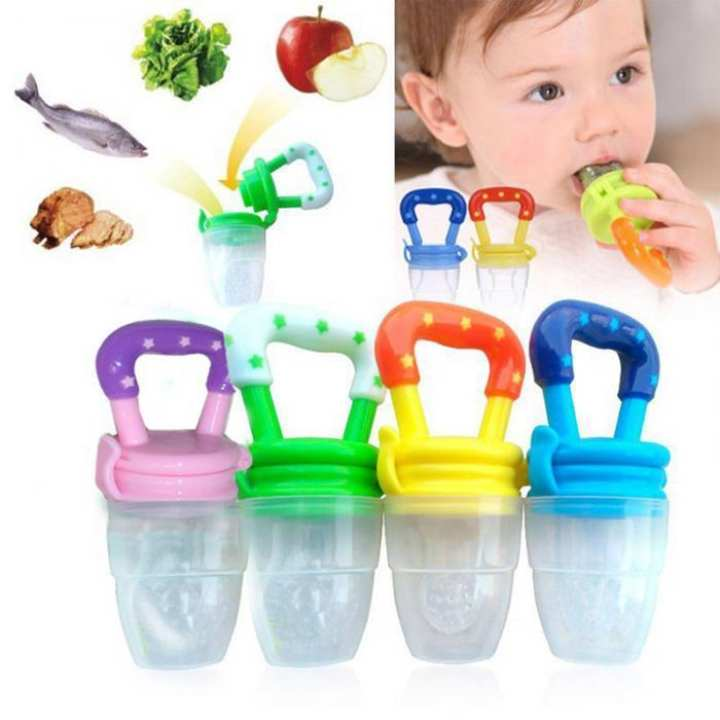 WMC- Fruit Filter Play with Soother Feeder Baby Fruit  Food  BPA Free Heart Shape Handle Fishnet Filter soother & Dust Proof  Cover Yellow PINK