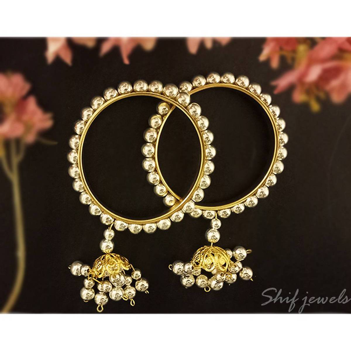 Silver Pearls with Jhumka Bracelet Bangle Set for Women and Girls