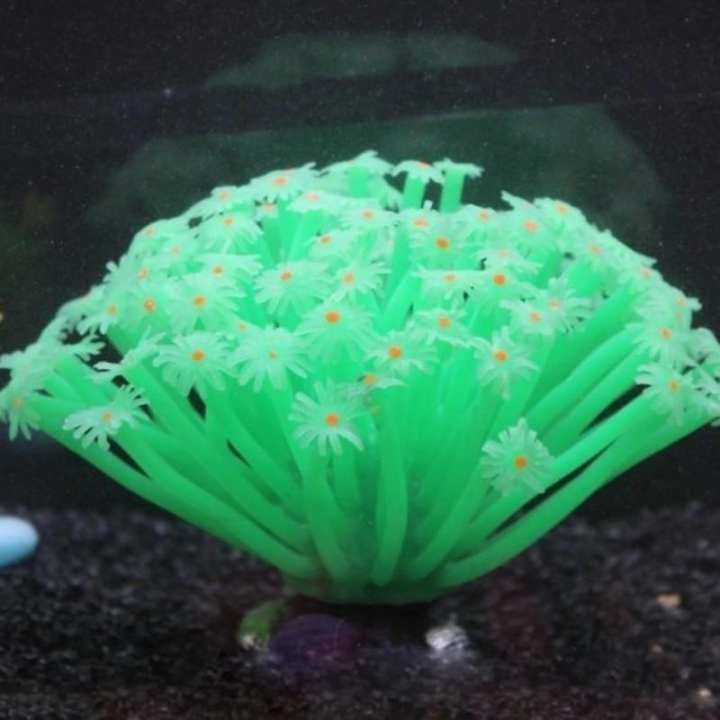 Green High Quality Artificial Sea Anemone Imitated Coral Ornaments 15x10cm For Fish Tank Aquarium Decoration