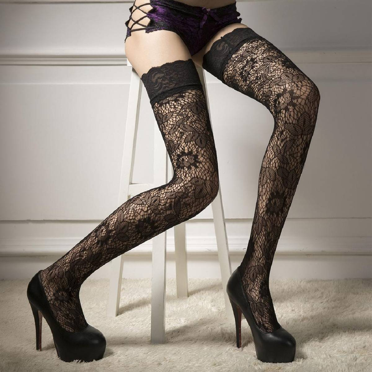 Sexy Floral Print Lace Stocking