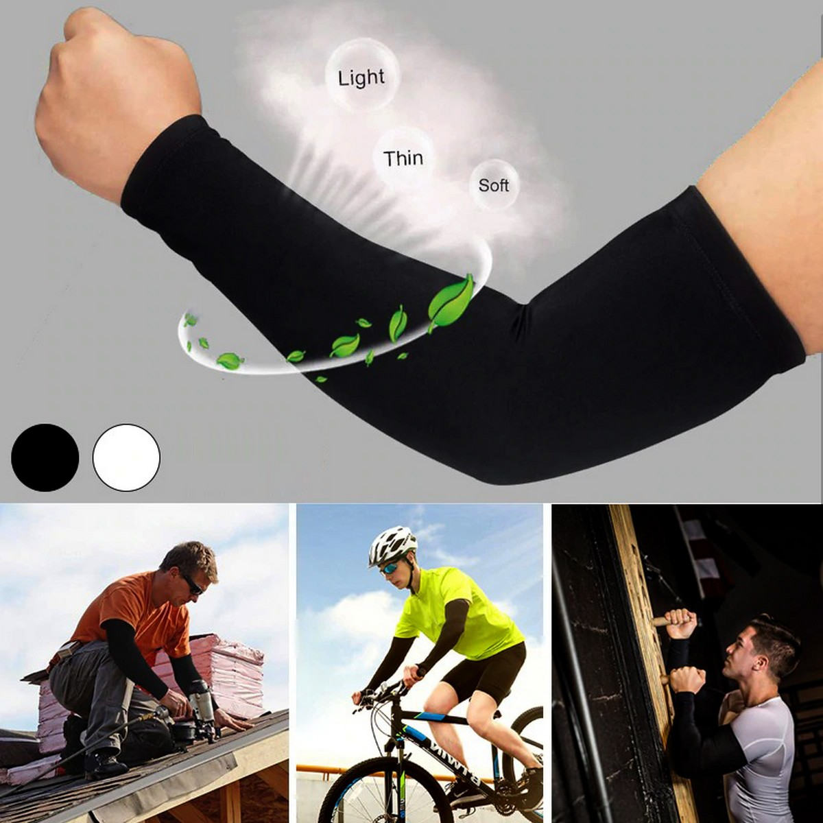 Pair of Arm Sleeves for Summer Elbow Cover for UV Protection Suitable for Outdoor Sports Gym Fitness Full Arm Gloves for Men and Women in Black and White Free Size