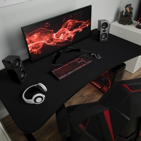 Professional Black Large Table 60 inches - Gaming Table - Wide Large Office Table - Study Table -Multi Colored LED Lights - Carbon Black Woo Surface Furniture - Headphones Holder -  Large Surfaced Keyboard Mouse Workstation