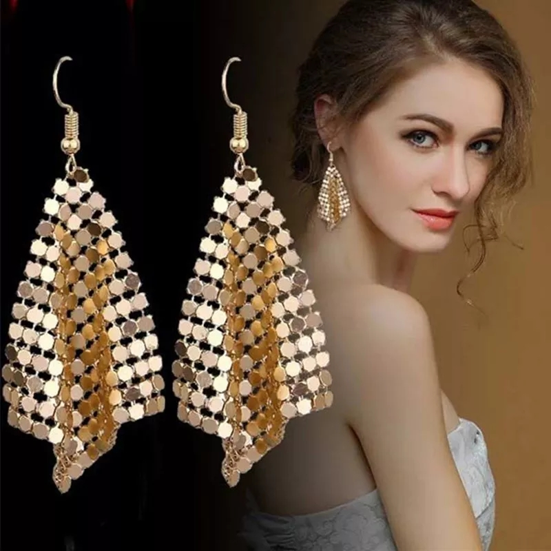 Stylish Mesh Sequin Long Earrings For Girls - Shiny Drop Dangle Earrings For Women - Sequins Geometry Earrings for Girls - Trendy Fashion 2021 - Imported Golden and Rose Gold Color