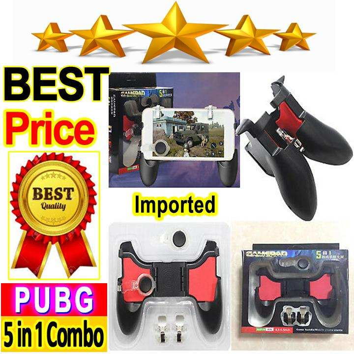 5 in 1 Gamepad Kit Game Handle Moving Joystick and Fire Trigger Mobile Phone PUBG Gaming Controller Gamepads for iphone Android - Original High Quality 5 in 1 PUBG Gamepad