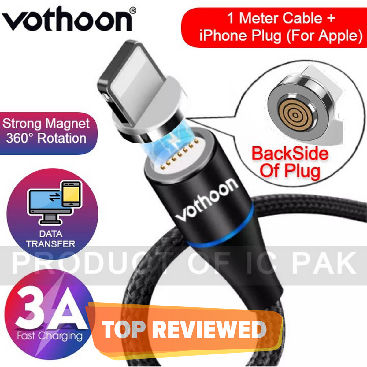 VOTHOON Magnetic Cable Fast Charging Cable Micro USB Type c & iPhone 3A Fast Charging With Data Transfer 7 Pin Connector 360 Degree Rotation LED Indication | 1 Meter Length | 2 Meter Length