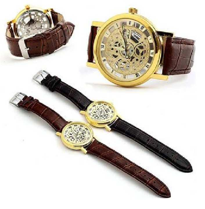 Style Black & Golden Leather & Alloy Analog Watch For Men