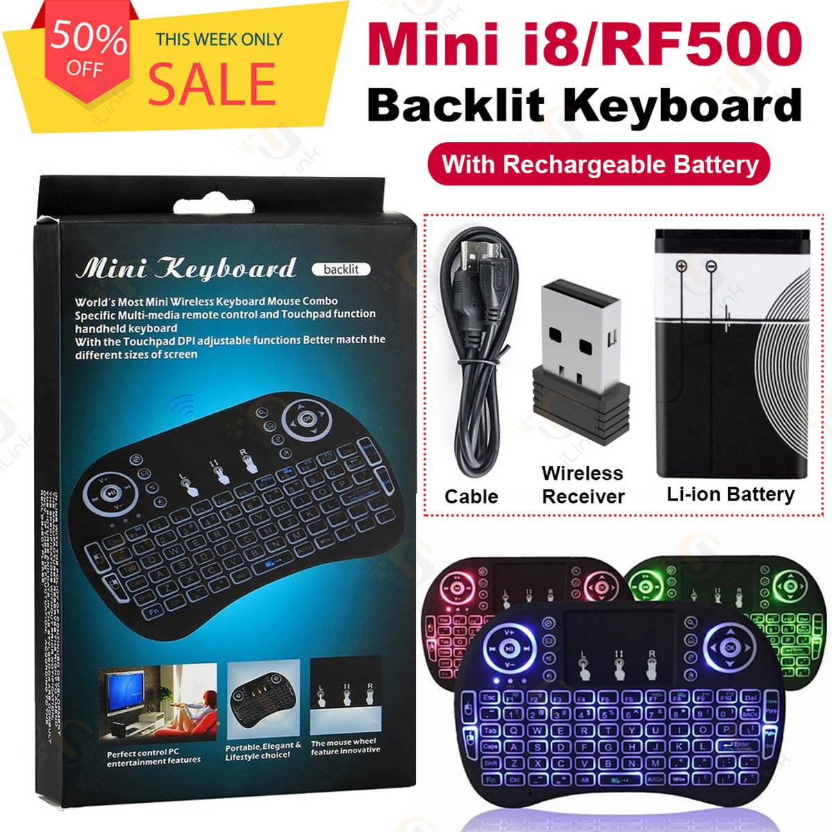 RF500 i8 Mini Wireless Backlit Keyboard 3 Colors Touchpad Air Mouse Touchpad for Android TV Box PC