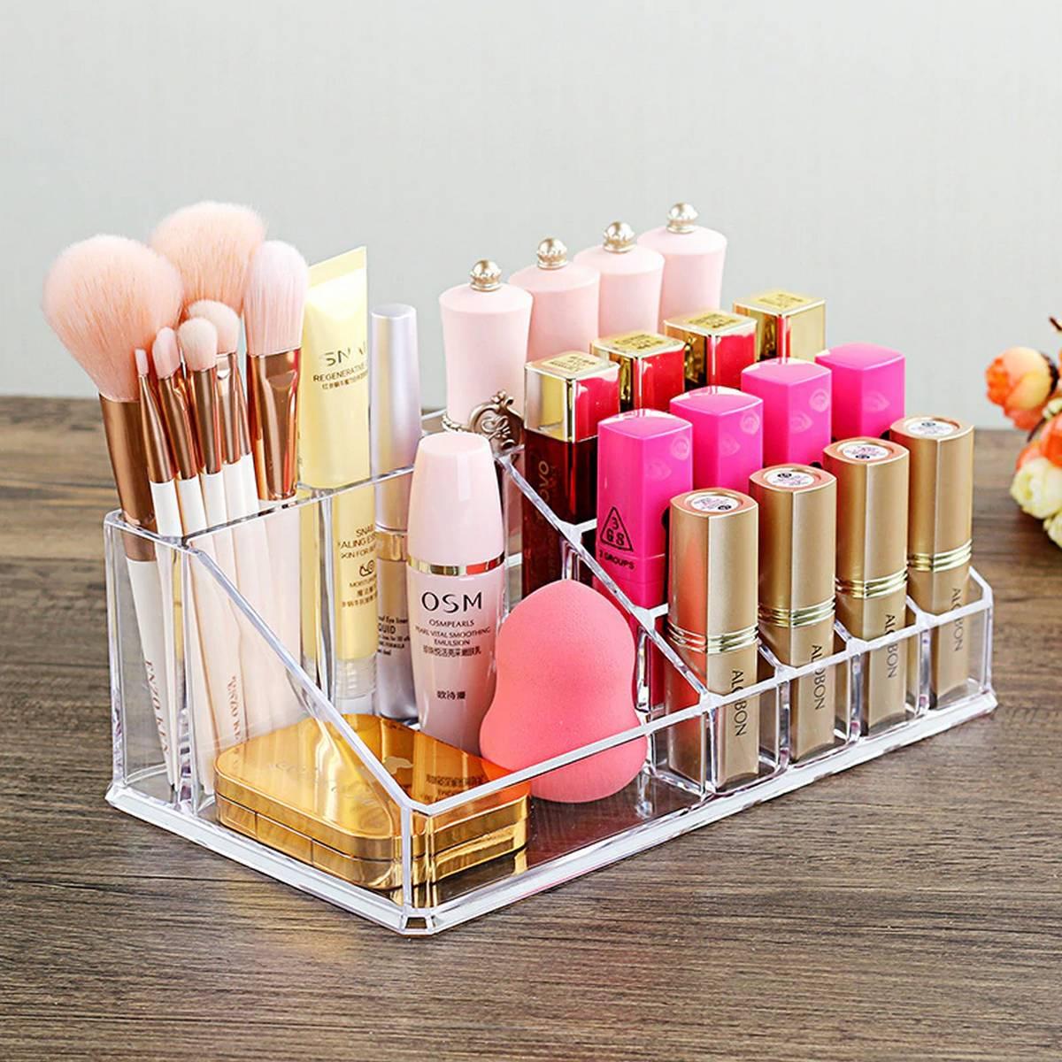 Acrylic makeup organizers Clear Storage Display Box Case Stand Rack Organizer Jewelry Storage Lipstick make-up brush Holder