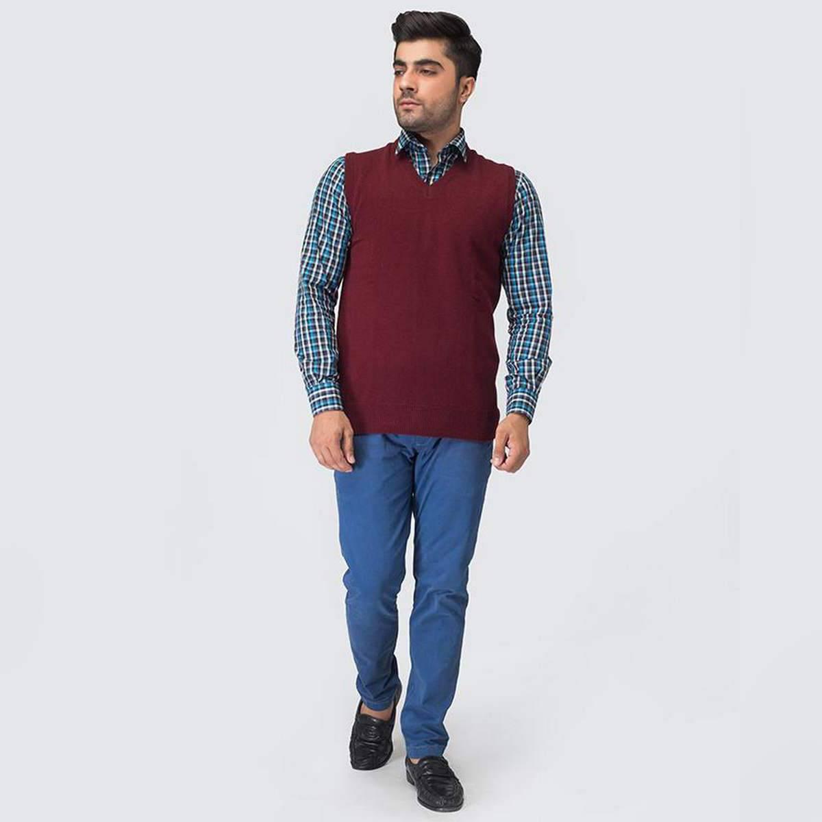 Oxford Lambswool Plain Sleeveless For Men