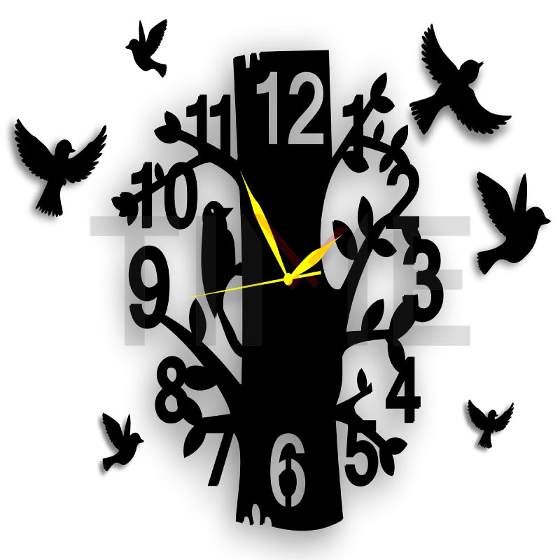 BIG Modern Style Tree with Branches & Bird Design 3D Wall Clock Living Room Home Office Decor Gift