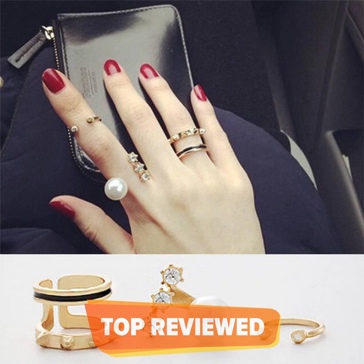 Fashion Jewelry 3 Pcs New Fashion Pearl Circle Ring Sets