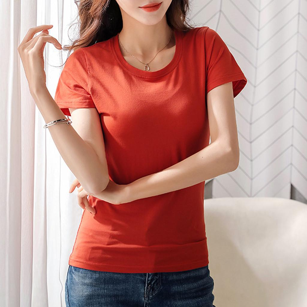 3223e872d42 Rainbowroom Women Round Collar Pure Color Short Sleeve T-Shirt