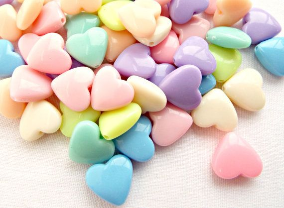 Heart Beads Colorful Plastic 95 Pcs 12mm Art and Craft Supplies Hole  DIY Craft Material and Jewellery Heart Shape Beads Multicolor