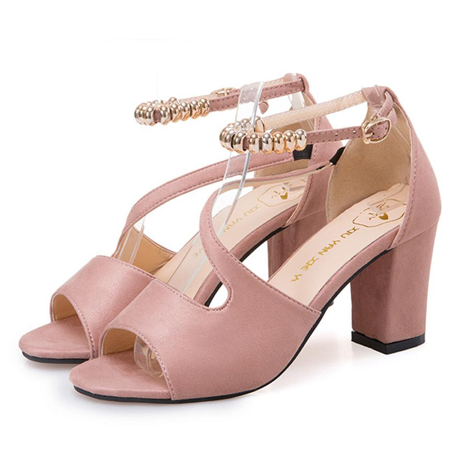 FORMAL STYLE PINK HIGH HEELED BEADED BUCKLE SANDALS SHOES