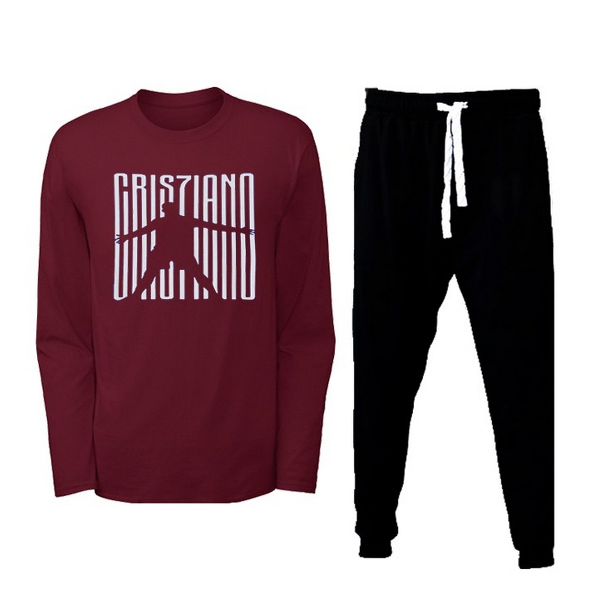 Cristiano Ronaldo Printed Long Sleeves Crew Neck T Shirt With Pockets Trouser Pack Of 2 Summer Wear For Men