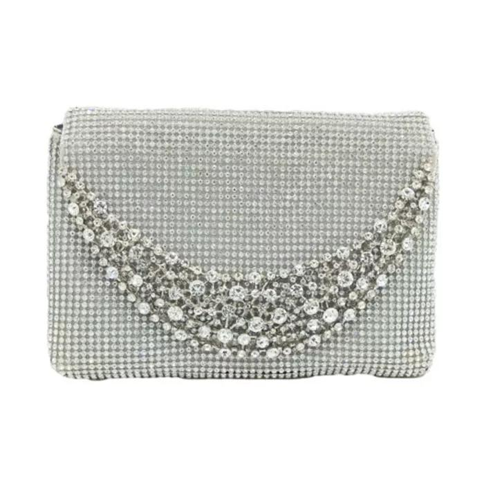 fcf6fba5a4 Women Diamond Pearl Beads Clutch Bag Rhinestone Wedding Purse