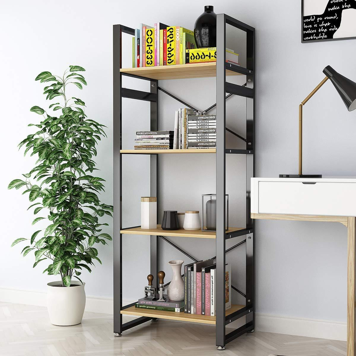 4 Tier Bookcase Vintage Industrial Rustic Bookshelf Rack Metal And Wood Bookcase 61 High Tall Bookcase Storage Shelf For Home Office
