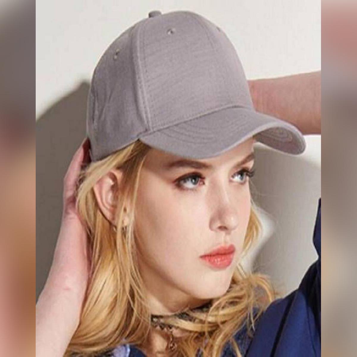 Cap For Girls Plain Sun Block & Baseball Beautiful Grey