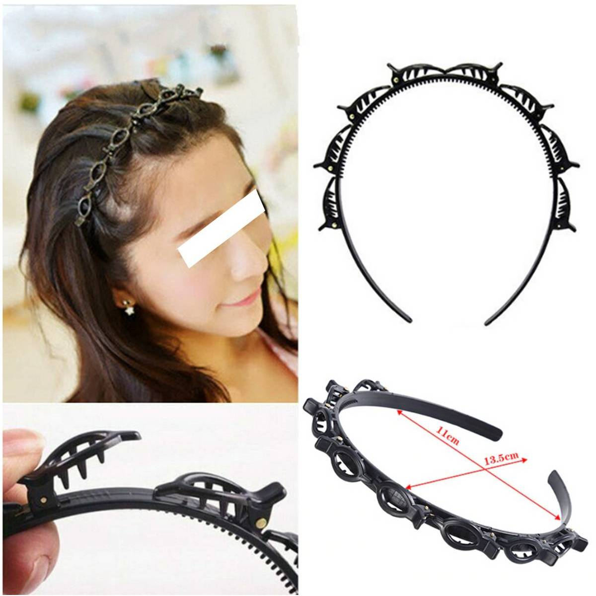 Fashion Jewelry Double Bangs Clip Hairstyle Hairband Accessories