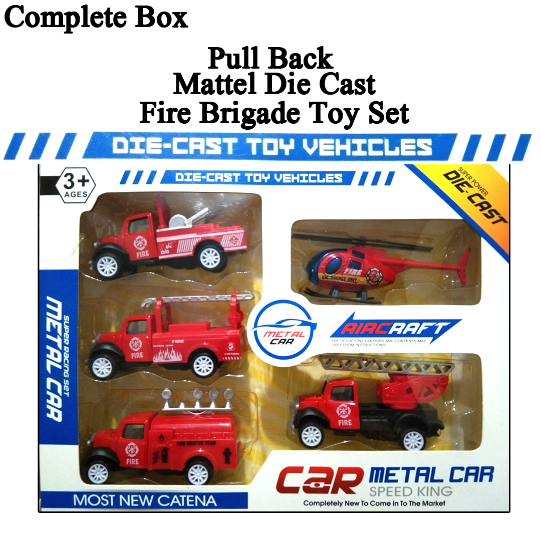 Complete Box Pack of 5 Pcs - Original Die Cast Metal Pull Back fire brigade Toys Set For Kids and Boys Pullback Diecast Car Toys