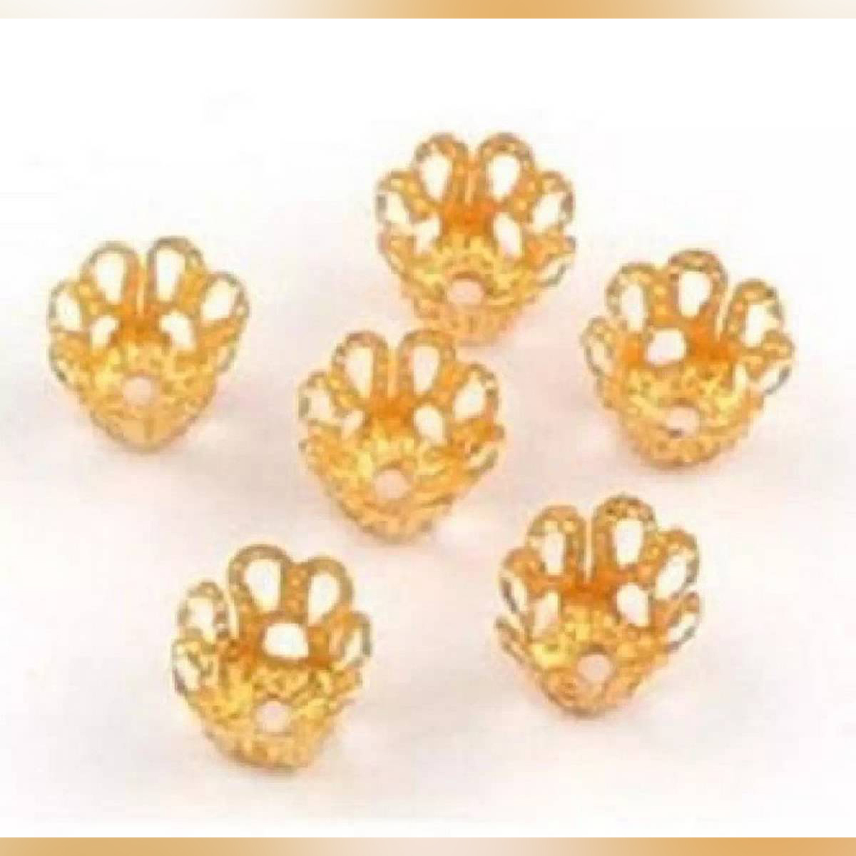 20Pieces 6mm  Filigree Metal Cup Hollow Flower End Caps Pendant DIY Charms Connectors Jewelry Findings
