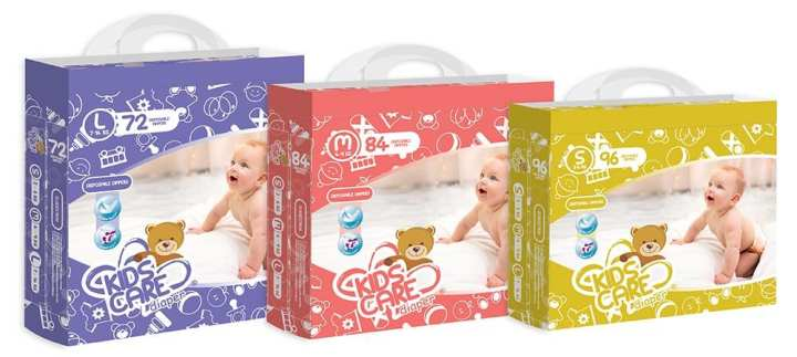 Kids Care Premium Diapers For Babies - Magic Tape - 96 pieces 3 to 8 Kg small size