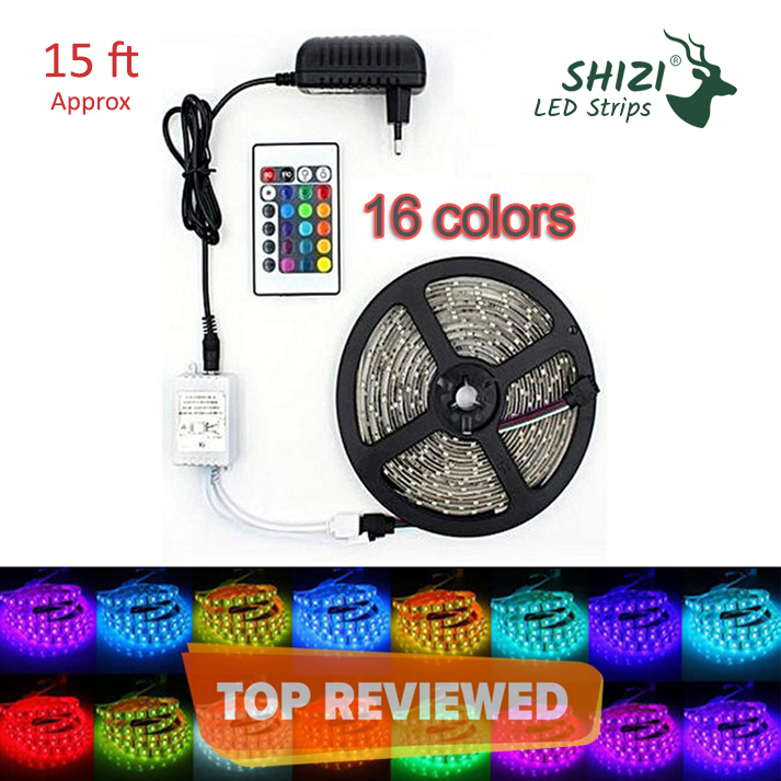 Shizi 16 Colors Led Strip Color Changing Remote Control Light Rgb 5050 - Complete Kit With 12V Adapter