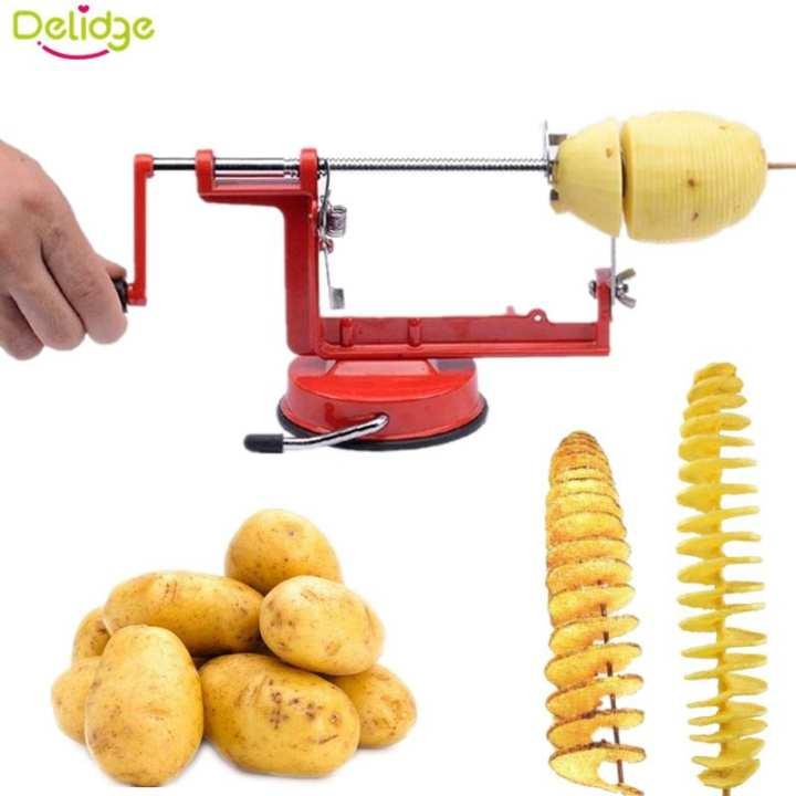 Spiral Manual Rotate Potato Slicer Stainless Metal