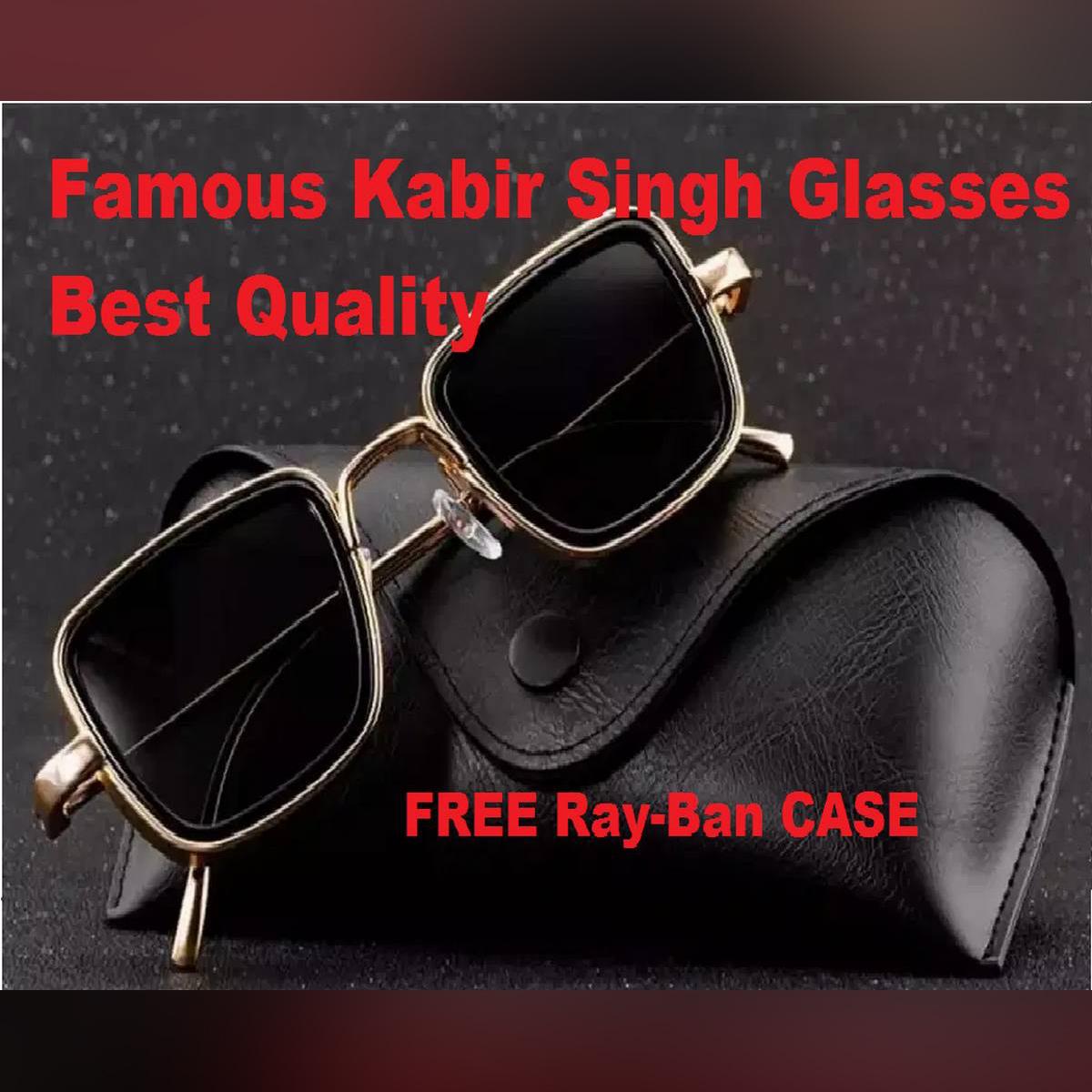 Kabir Singh India Movie Sunglasses Men Square Retro Cool Sun Shades Steampunk Style Sun Glasses for Men Silver Frame with Black Glass - Shahid Kapoor Sunglasses