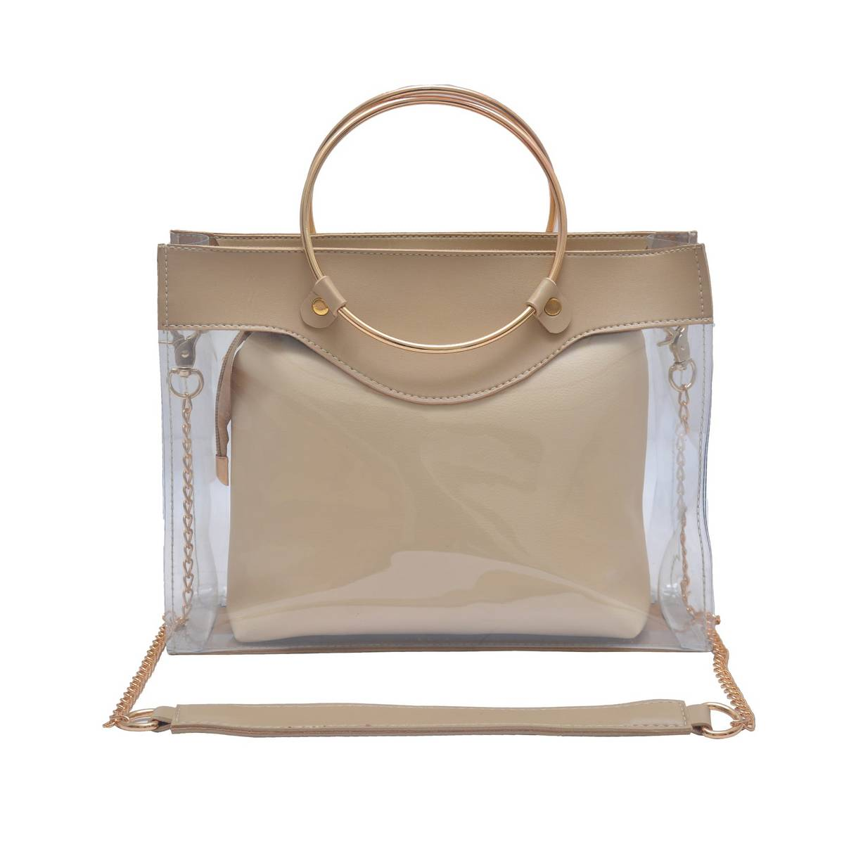 Astore Transparent Beige Faux Leather Fix Gold Chain Acrylic Bag with Inside Vanity Party ShoulderBag and Handbag