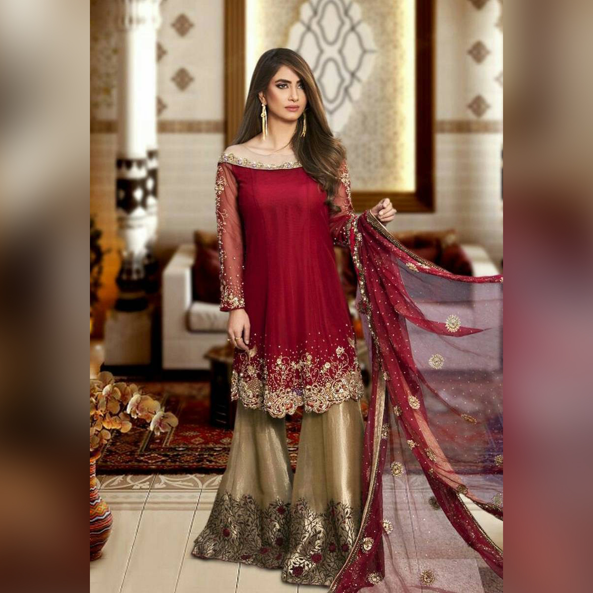 Partywear and Bridal cloth suit fashion designer fancy dress  Ston work  EMBROIDERED DETAILS Embroidered front Embroidered back Embroidered sleeves Embroidered neck Embroidered daman Embroidered Dupatta Embroidered sik trouser