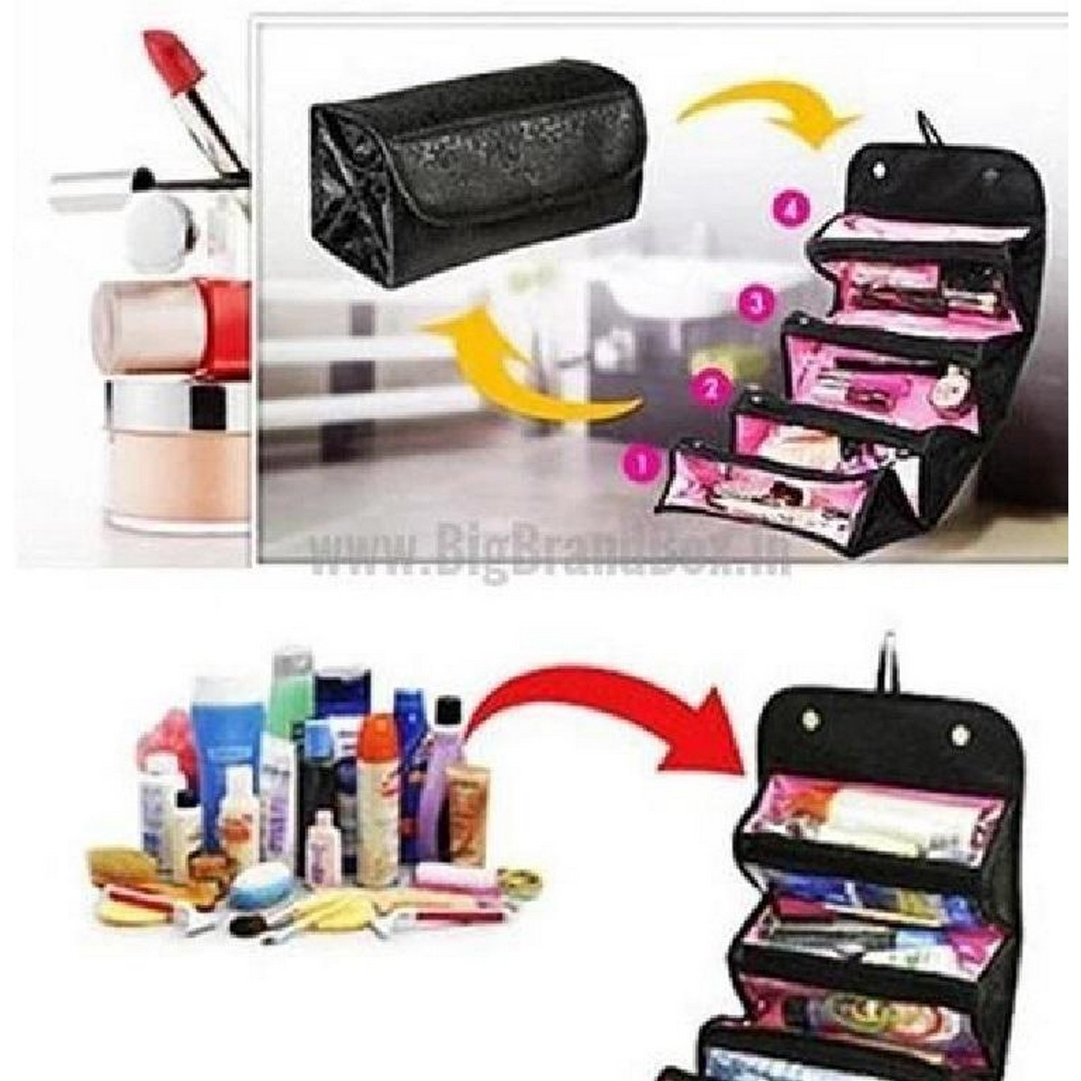 Makeup Bag Cosmetic Hanging Organizer Roll N Go Roll Up Foldable Clear Case Pouch Toiletry