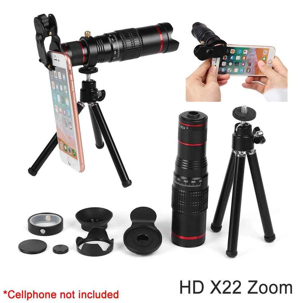 e0db6962d8a528 Mobile Lens Portable HD 4K 22x Zoom Telescope Telephoto External Smartphone  Camera with Tripod for Phone