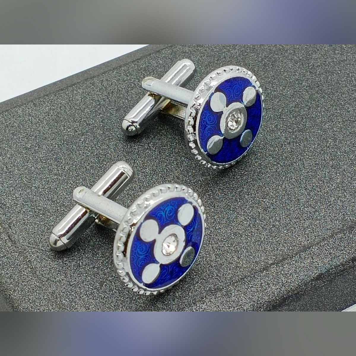 Blue With Silver Cufflink For Men Golden with Black Studs Office Party & Casual Wear