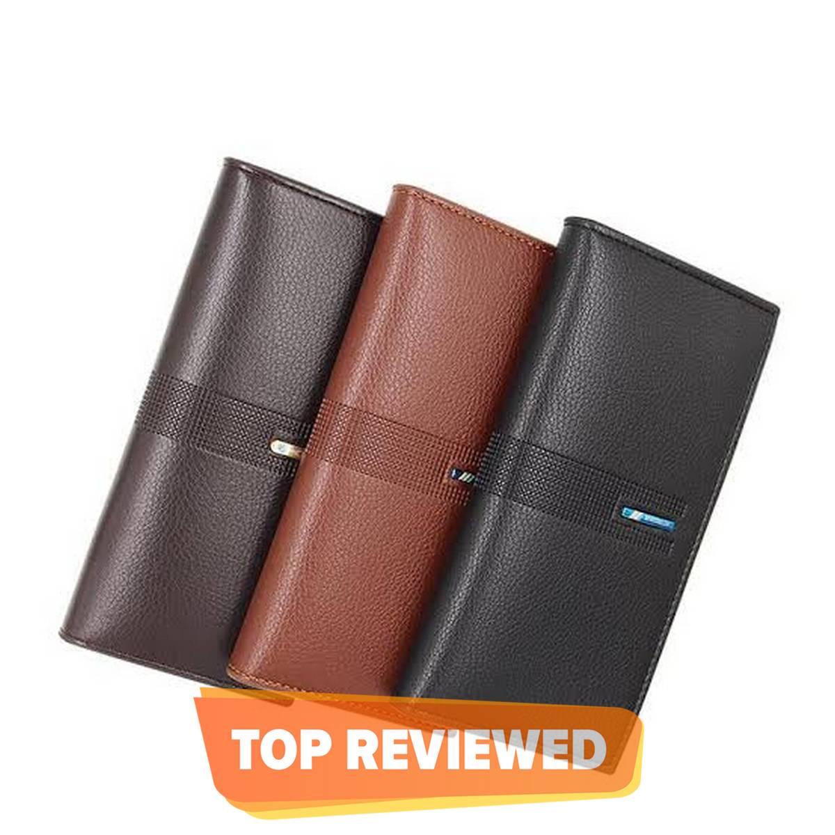 Leather Long Wallet For Men Slim Money Mobile Wallet Card Holder-Brown