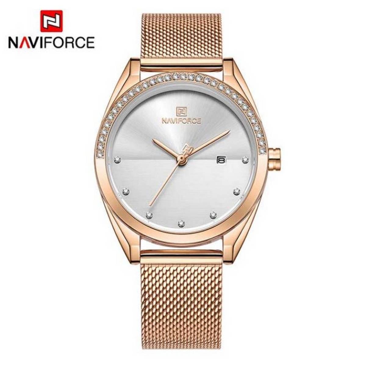 New NAVIFORCE Women Watches Luxury Blue Gold Quartz Ladies Watches Mesh Watches Ladies With Brand Box - NF5015
