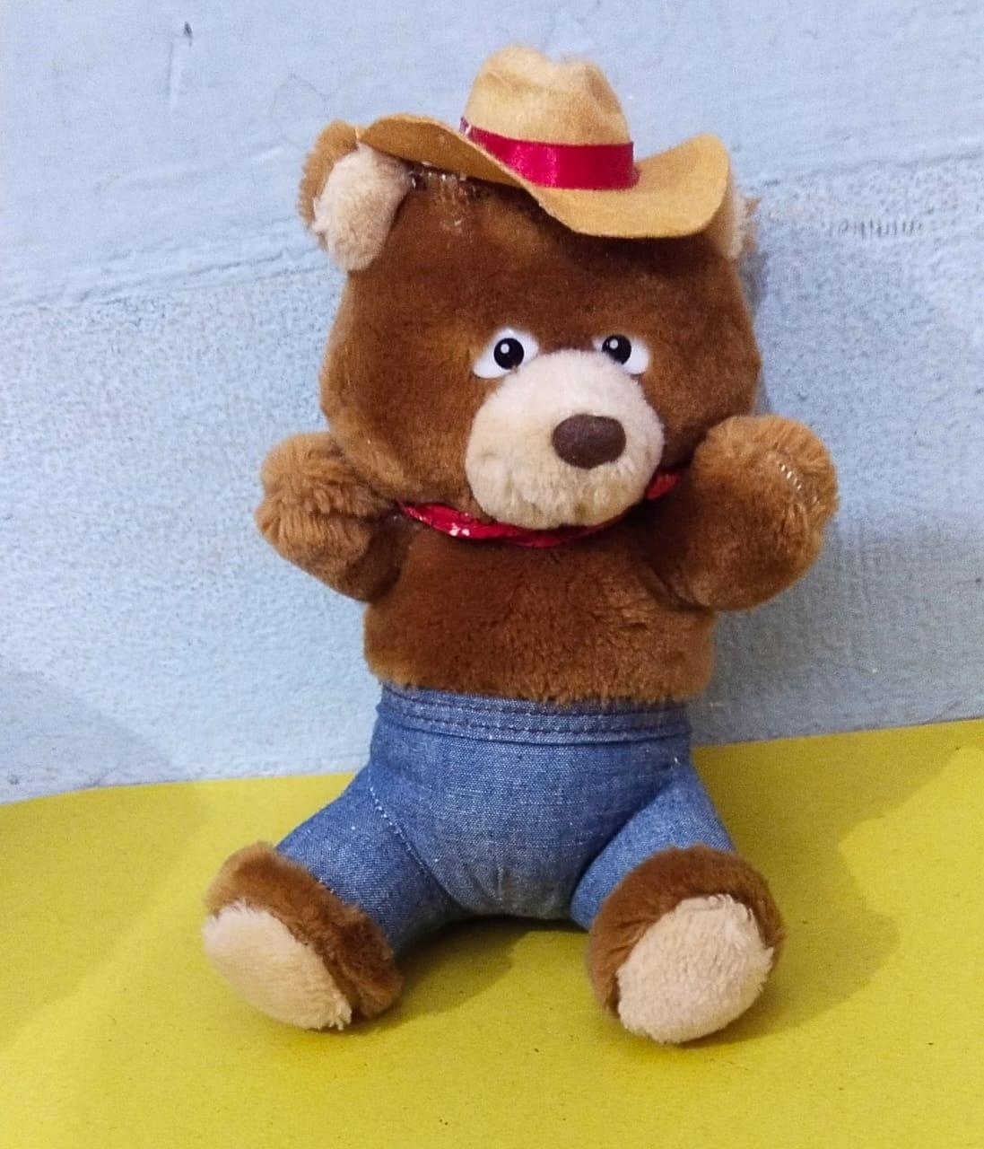 Cow Boy Bear Plush Stuffed Toy - Brown