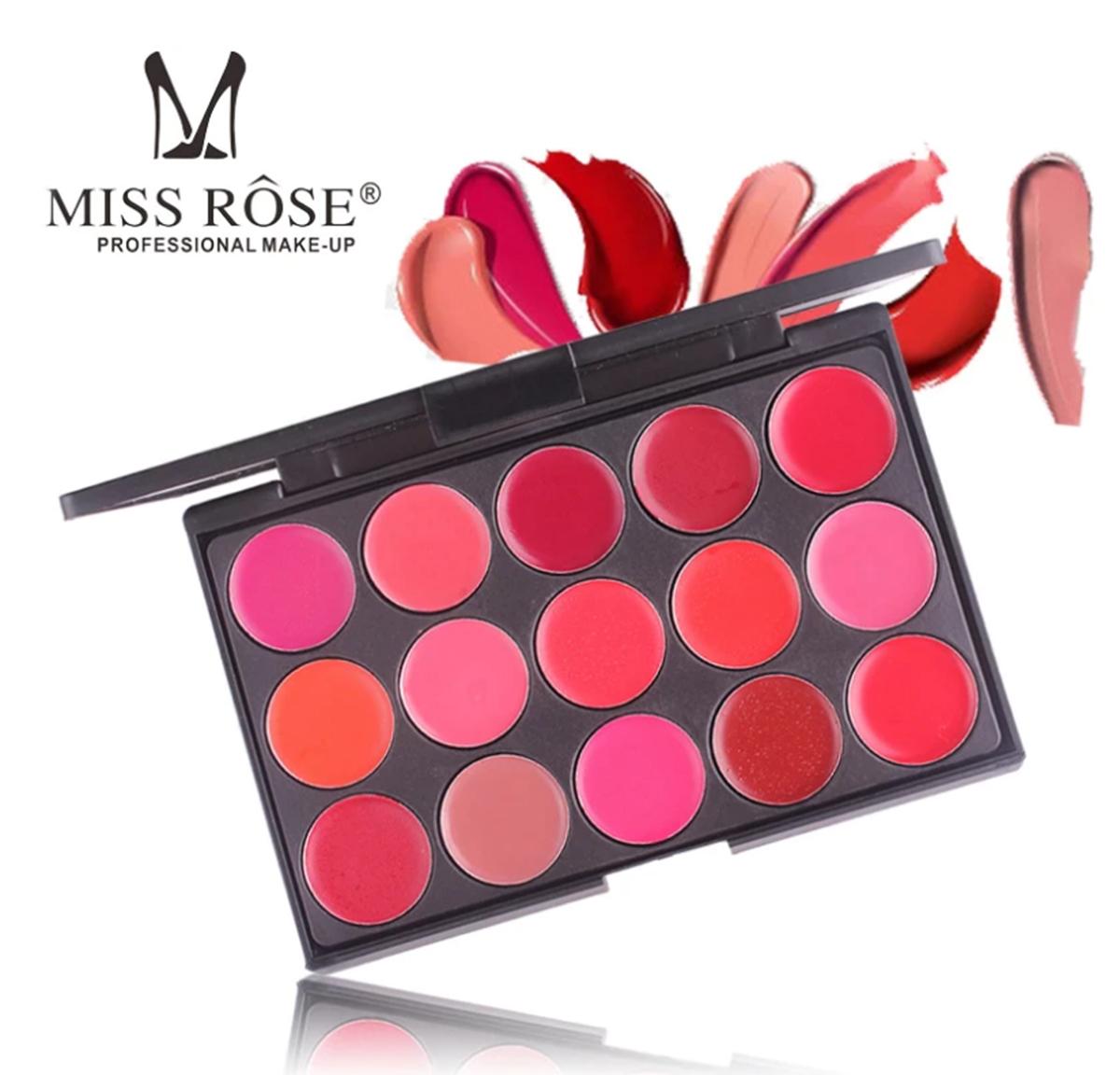 Miss Rose 15 Colors Matte  Long Lasting Waterproof Nourishing Lip Cream Palette 20g